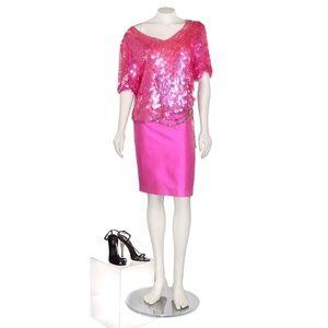 Vtg Oleg Cassini Iridescent Pink Paillette Blouse